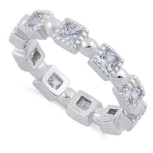 Load image into Gallery viewer, Sterling Silver Princess Cut Clear Eternity CZ Ring