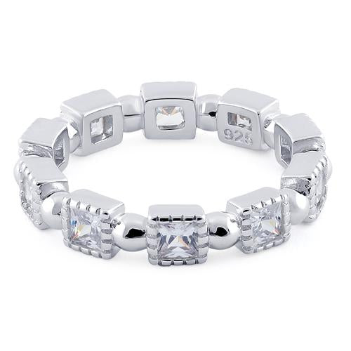 Sterling Silver Princess Cut Clear Eternity CZ Ring