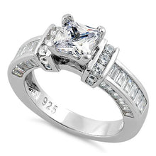 Load image into Gallery viewer, Sterling Silver Princess Cut CZ Ring