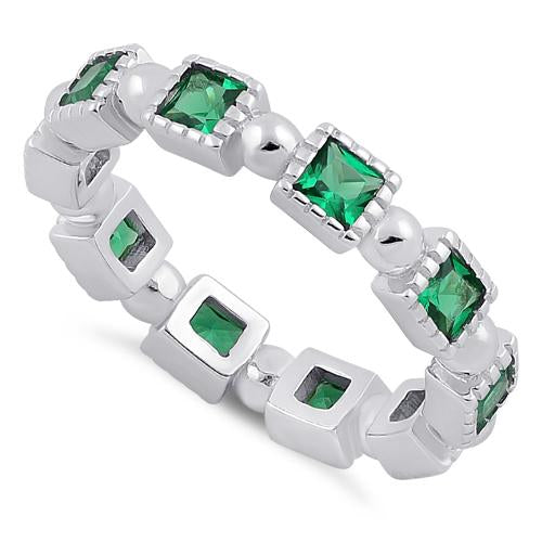 Sterling Silver Princess Cut Emerald Eternity CZ Ring