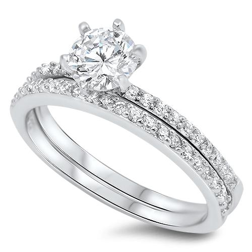 Sterling Silver Round Cut Engagement Set Ring