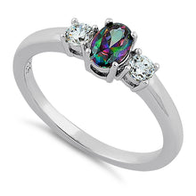 Load image into Gallery viewer, Sterling Silver Oval Cut Rainbow Topaz CZ Ring