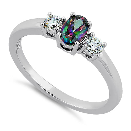 Sterling Silver Oval Cut Rainbow Topaz CZ Ring