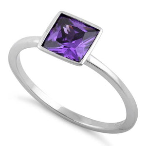 Sterling Silver Princess Cut Solitaire Amethyst CZ Ring