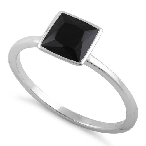 Sterling Silver Princess Cut Solitaire Black CZ Ring
