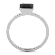 Load image into Gallery viewer, Sterling Silver Princess Cut Solitaire Black CZ Ring