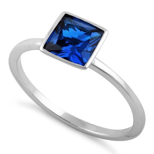 Sterling Silver Princess Cut Solitaire Blue Sapphire CZ Ring