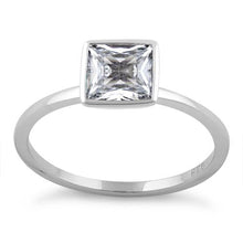 Load image into Gallery viewer, Sterling Silver Princess Cut Solitaire Clear CZ Ring