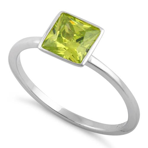 Sterling Silver Princess Cut Solitaire Dark Apple Green CZ Ring