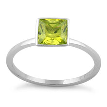 Load image into Gallery viewer, Sterling Silver Princess Cut Solitaire Dark Apple Green CZ Ring