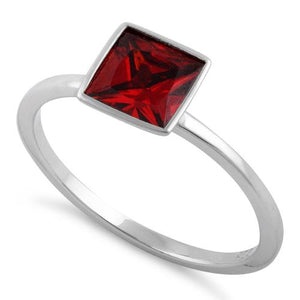 Sterling Silver Princess Cut Solitaire Dark Garnet CZ Ring