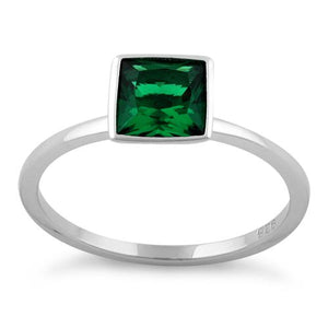 Sterling Silver Princess Cut Solitaire Emerald CZ Ring