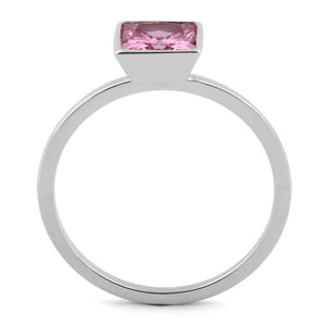 Sterling Silver Princess Cut Solitaire Pink CZ Ring