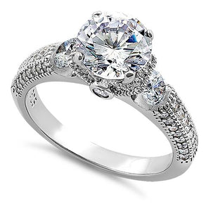 Sterling Silver Pristine Round Cut Clear CZ Engagement Ring