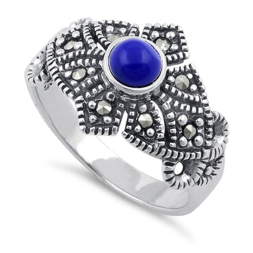 Sterling Silver Blue Lapis Crown Marcasite Ring