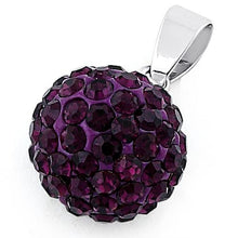 Load image into Gallery viewer, Sterling Silver Purple CZ Ball Pendant