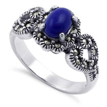 Load image into Gallery viewer, Sterling Silver Blue Lapis Flower Hearts Marcasite Ring