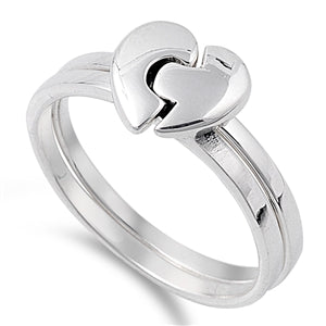 Sterling Silver Puzzle Heart Ring