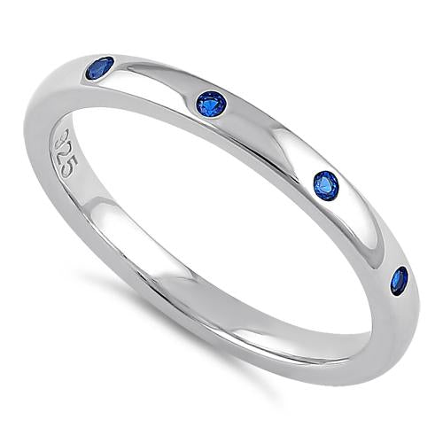 Sterling Silver Quadruplet Round Cut Blue Spinel CZ Ring