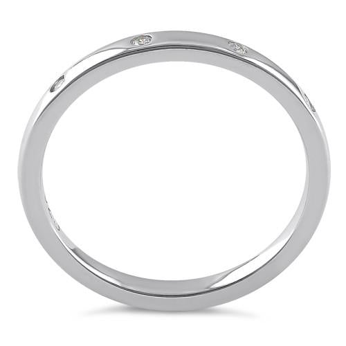 Sterling Silver Quadruplet Round Cut Clear CZ Ring