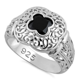 Sterling Silver Quatrefoil Black CZ Ring
