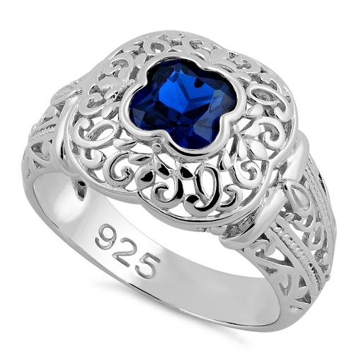 Sterling Silver Quatrefoil Blue Spinel CZ Ring