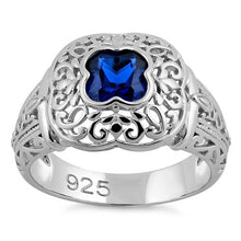 Load image into Gallery viewer, Sterling Silver Quatrefoil Blue Spinel CZ Ring