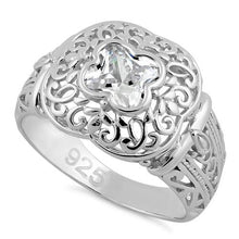 Load image into Gallery viewer, Sterling Silver Quatrefoil Clear CZ Ring