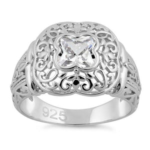 Sterling Silver Quatrefoil Clear CZ Ring