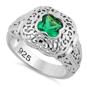 Sterling Silver Quatrefoil Emerald CZ Ring