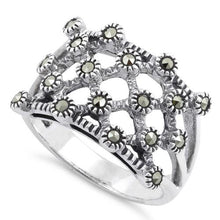 Load image into Gallery viewer, Sterling Silver Quilted Marcasite Ring
