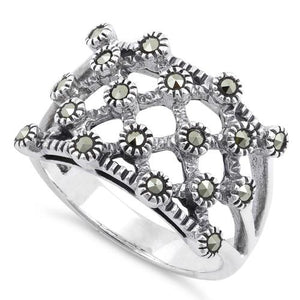 Sterling Silver Quilted Marcasite Ring