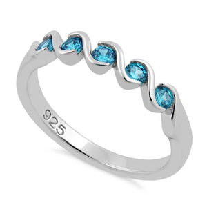 Sterling Silver Quintuple Aqua Blue CZ Ring
