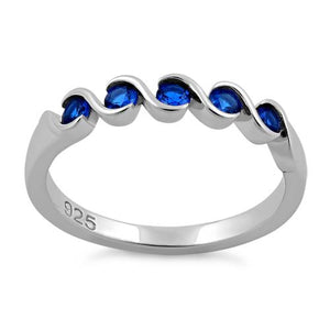 Sterling Silver Quintuple Blue Spinel CZ Ring