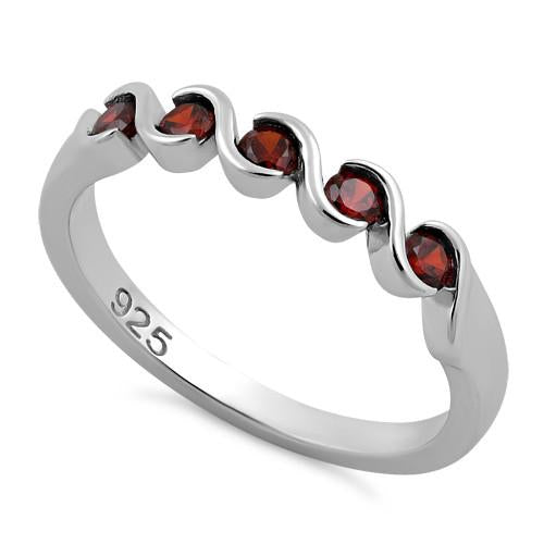 Sterling Silver Quintuple Dark Garnet CZ Ring