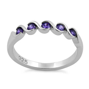 Sterling Silver Quintuple Amethyst CZ Ring