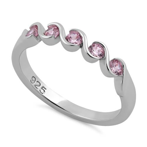 Sterling Silver Quintuple Pink CZ Ring