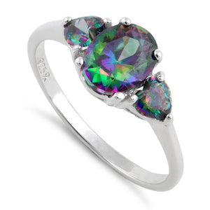 Sterling Silver Rainbow CZ Ring