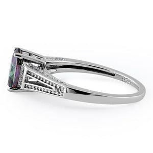 Sterling Silver Rainbow Oval Cut CZ Ring