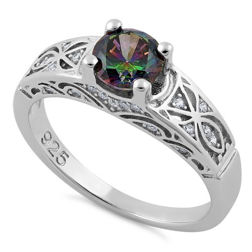 Sterling Silver Rainbow Round Cut Engagement CZ Ring