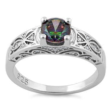 Load image into Gallery viewer, Sterling Silver Rainbow Round Cut Engagement CZ Ring