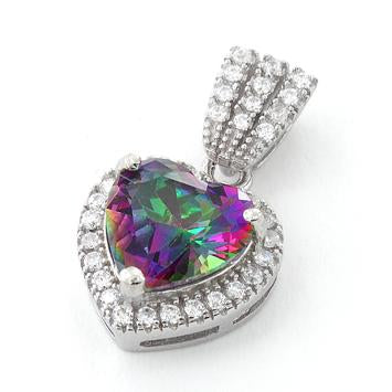 Sterling Silver Rainbow Topaz Big Heart CZ Pendant