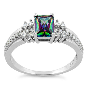 Sterling Silver Rainbow Topaz Cubic Zirconia Ring