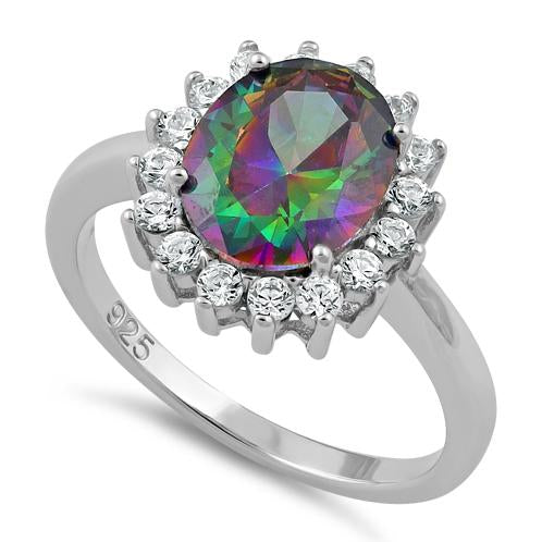 Sterling Silver Rainbow Topaz CZ Ring