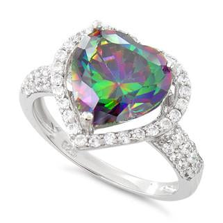 Sterling Silver Rainbow Topaz Heart Halo CZ Ring