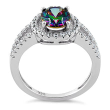 Load image into Gallery viewer, Sterling Silver Rainbow Topaz Oval Halo CZ Ring