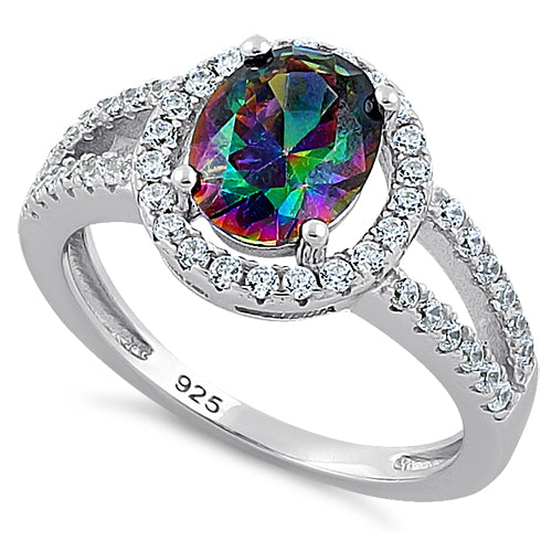Rainbow Topaz and Cubic Zirconia Ring Sterling Silver
