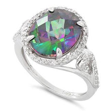 Load image into Gallery viewer, Sterling Silver Rainbow Topaz Oval Halo Swirl CZ Ring