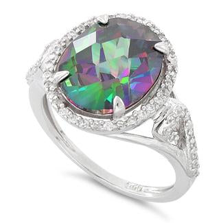 Sterling Silver Rainbow Topaz Oval Halo Swirl CZ Ring