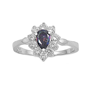 Sterling Silver Rainbow Topaz Pear Cut Halo CZ Ring
